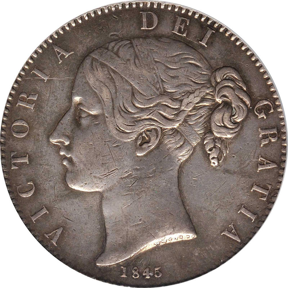 EF-40 - Crown 1844 to 1847 - Victoria - Young Head