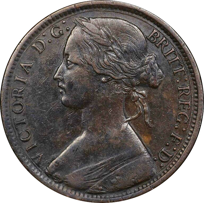 EF-40 - Penny 1861 to 1894 - Victoria - Bun Head