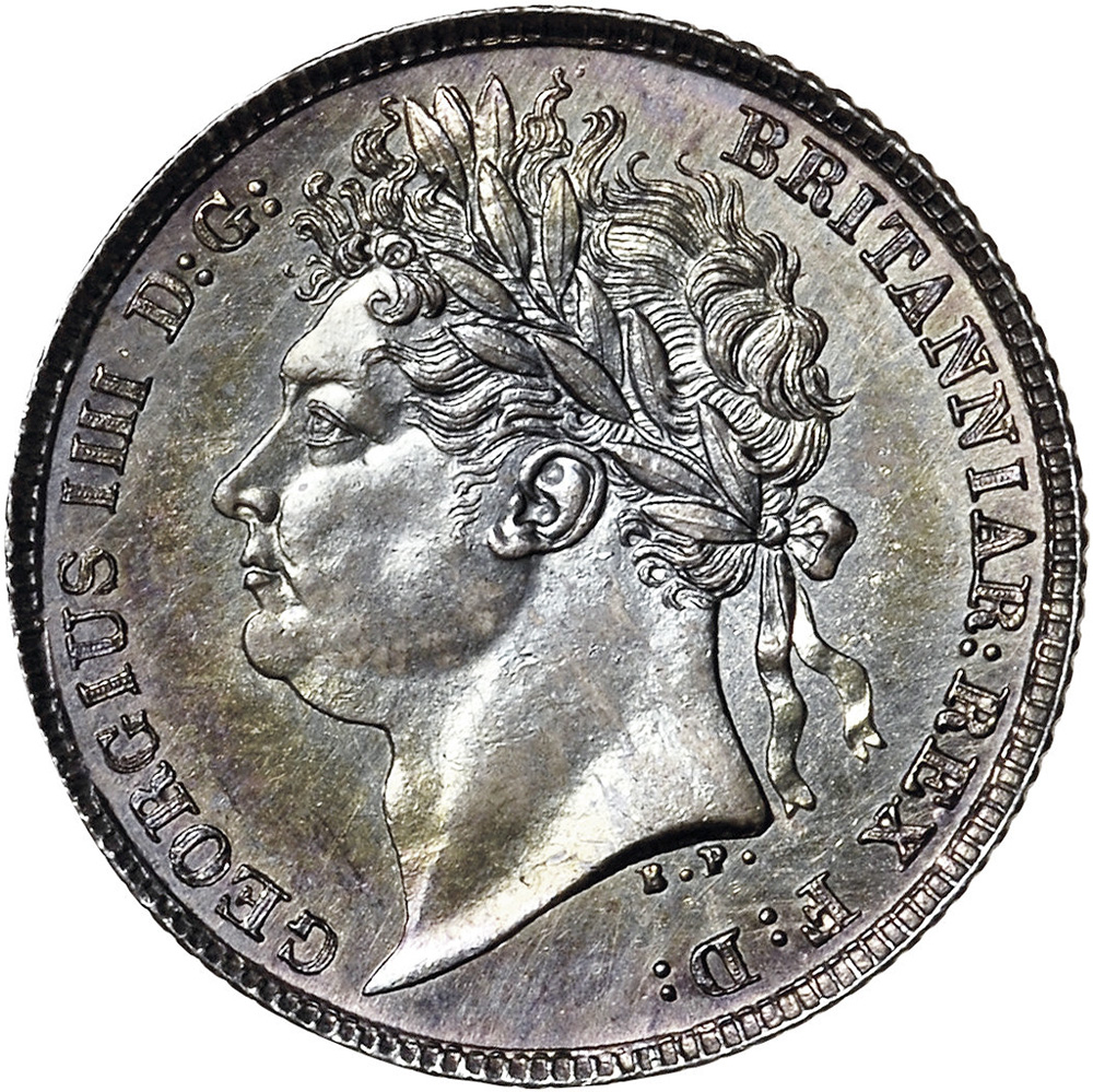 MS-60 - 6 pence 1821 to 1825 - George IV - Laureate Head